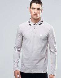 Серая футболка‑поло с длинными рукавами и контрастной отделкой Pretty Green - Серый