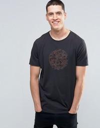 Темно-серая футболка с принтом пейсли и логотипом Pretty Green - Серый