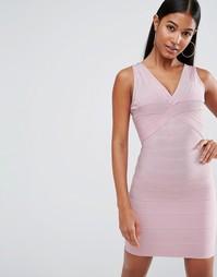 Бандажное платье миди с глубоким декольте WOW Couture - Розовый