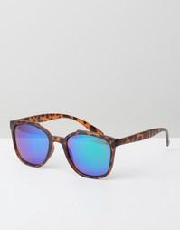 Солнцезащитные очки в черепаховой квадратной оправе Jeepers Peepers - Коричневый