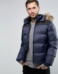 Стеганая дутая куртка со съемным капюшоном Schott - Темно-синий