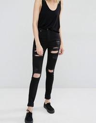 Рваные облегающие джинсы с завышенной талией Dr Denim Zoe - Черный