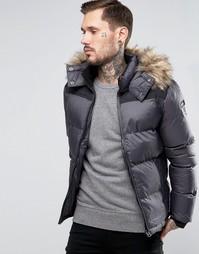 Стеганая дутая куртка со съемным капюшоном Schott - Серый