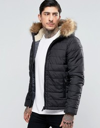 Стеганая куртка со съемной отделкой из искусственного меха Schott - Черный