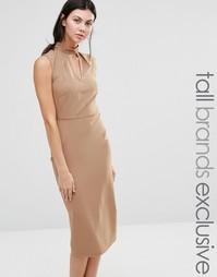 Платье-футляр без рукавов с высоким воротом и вырезом капелькой Alter Tall - Рыжий