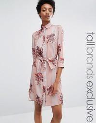 Платье-рубашка в пижамном стиле Alter Tall - Мульти