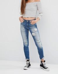 Зауженные джинсы с прорезами и заплатками Noisy May Lucy L30 - Синий