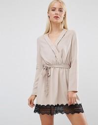 Платье с запахом и кружевным низом Madam Rage - Бежевый