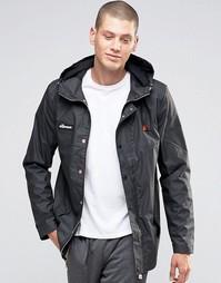 Куртка с капюшоном из ткани с покрытием Ellesse - Черный