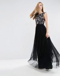 Платье макси с эффектом омбре и цветочным принтом Needle & Thread - Черный