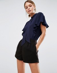 Блузка с короткими рукавами и оборками Closet - Темно-синий