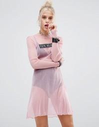 Сетчатое платье с блестками The Ragged Priest - Розовый