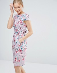 Платье миди с завязкой сзади и короткими рукавами Closet - Мульти