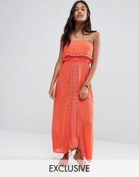 Пляжное платье макси с разрезом и кружевом кроше Akasa Cerise - Оранжевый