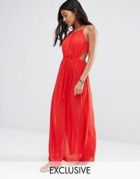 Красное пляжное платье макси с вырезом капелькой Akasa - Красный