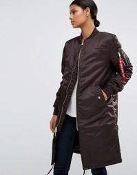 Удлиненное пальто с золотистой молнией Alpha industries MA-1 - Коричневый