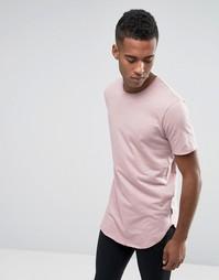 Длинная футболка с ассиметричным краем Jack & Jones - Розовый