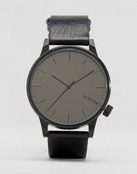 Черные часы с кожаным ремешком Komono Winston - Черный