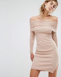Платье-джемпер с открытыми плечами Parallel Lines - Бежевый