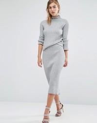Вязаная юбка-карандаш Parallel Lines - Серый