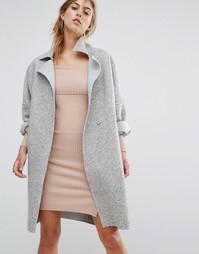 Пальто-кокон из фактурной ткани с необработанными краями Parallel Lines - Серый