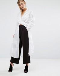 Рубашка макси с запахом Parallel Lines - Серый