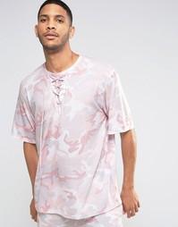 Футболка с камуфляжным принтом и шнуровкой на горловине Granted - Розовый
