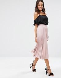 Плиссированная юбка миди Closet - Розовый
