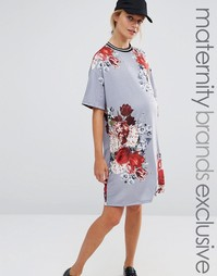 Bluebelle Maternity Floral Printed Shift Dress With Rib Trim - Мульти