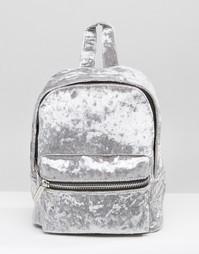 Серый рюкзак мини из жатого бархата Skinnydip - Серый