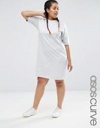 Легкое трикотажное платье-футболка ASOS CURVE - Серый