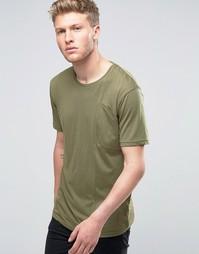 Футболка цвета хаки с косым карманом Ringspun - Зеленый