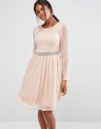 Платье с длинными рукавами и кружевной вставкой Y.A.S Marissa - Фиолетовый
