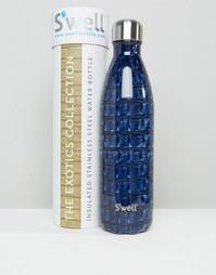 Темно-синяя бутылка объемом 750 мл с крокодиловым принтом Swell - Темно-синий