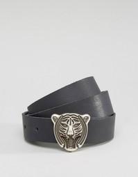Пояс с головой тигра Retro Luxe London - Черный