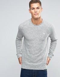 Серый меланжевый вязаный джемпер с логотипом и закатанной горловиной Abercrombie & Fitch - Серый