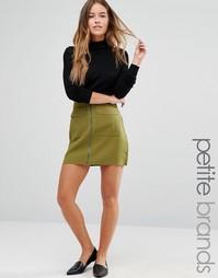 Мини-юбка с карманами на молнии спереди Missguided Petite - Зеленый