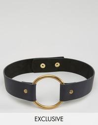 Ремень с пряжкой в форме кольца Retro Luxe London - Черный