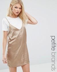 Атласное платье 2-в-1 Missguided Petite - Золотой