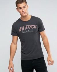 Черная футболка слим с винтажным принтом A&Fitch Abercrombie & Fitch - Черный