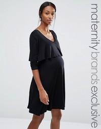 Короткое платье для беременных и кормящих мам Bluebelle Maternity - Черный