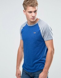 Синяя футболка узкого кроя с логотипом Hollister Must Have - Синий