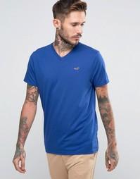 Синяя футболка слим Hollister - Синий