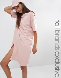 Платье-футболка в стиле oversize c разрезом One Day Tall - Розовый