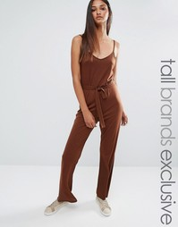 One Day Tall Wrap Front Cami Strap Jumpsuit - Коричневый