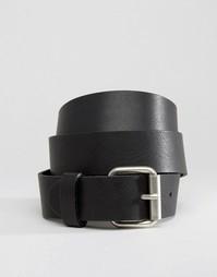 Черный кожаный ремень для джинсов Weekday - Черный