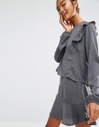 Укороченная блузка с оборками спереди First & I - Серый