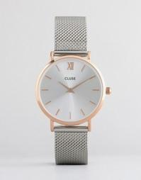 Часы цвета розового золота с серебристым браслетом Cluse Minuit CL30025 - Мульти
