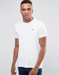 Белая футболка узкого кроя с круглым вырезом и логотипом Hollister - Белый