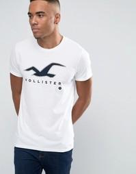Снежно-белая футболка узкого кроя с крупным логотипом в виде чайки Hollister - Белый
